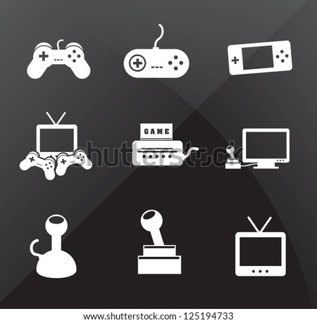 Control icons over black background vector illustration - stock vector
