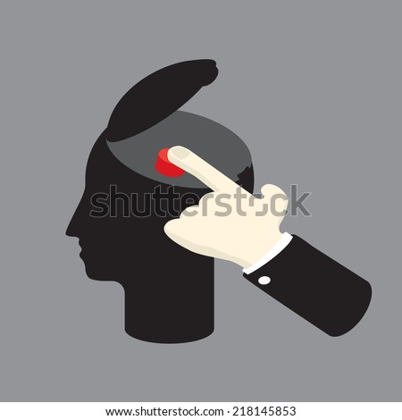 control the man by pushing sensitive button - stock vector