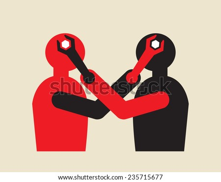controversy, mutual influential mind manipulation using wrench  - stock vector