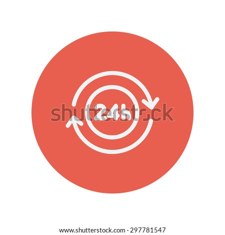 Convenience service thin line icon for web and mobile minimalistic flat design. Vector white icon inside the red circle. - stock vector