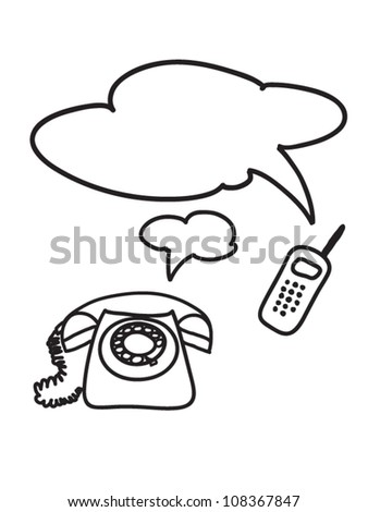 Conversation on phones - stock vector