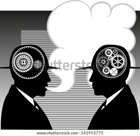 conversation, Text bubble, hats ,two men in talk - stock vector
