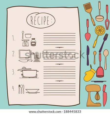 Cook book design over blue background ,vector illustration - stock vector