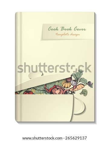 Cook Book or Manu cover template,  retro, minimalistic design.  Vector eps10. - stock vector