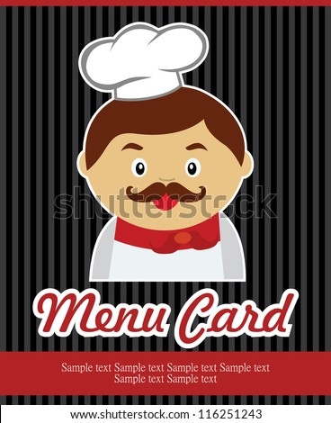 cook card. vector illustration - stock vector