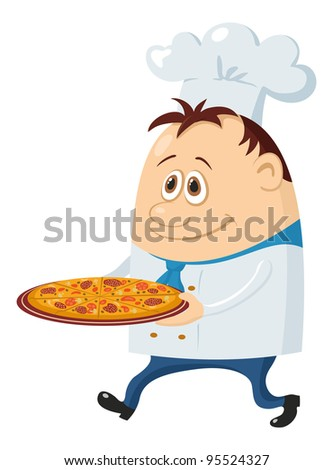 Cook, cartoon chef with pizza isolated over a white background. Vector - stock vector