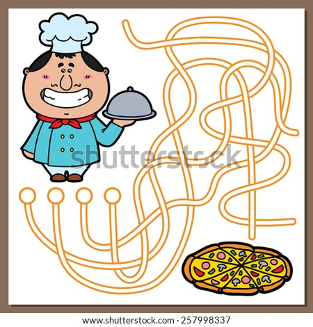 Cook game. Vector illustration of maze(labyrinth) game with cute Cook and pizza for children - stock vector