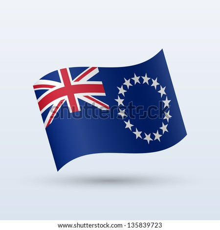 Cook Islands flag waving form on gray background. Vector illustration. - stock vector