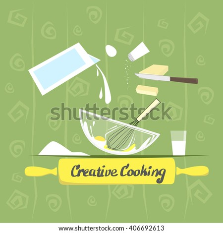 Cook Process Utensils, Products Food Prepare, Creative Cooking Banner Vector Illustration - stock vector