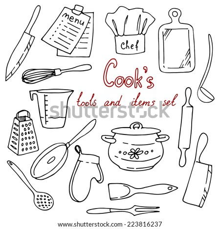 Cook's tools and items set. Hand-drawn design elements. Vector illustration with items for cooking.  - stock vector