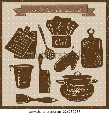 Cook's tools and items set. Vintage vector illustration. - stock vector