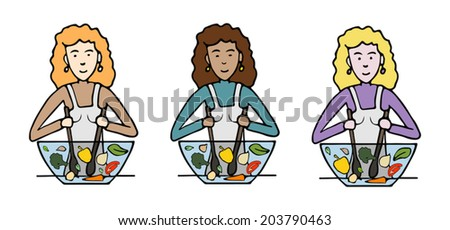 cook salad on the white background - stock vector