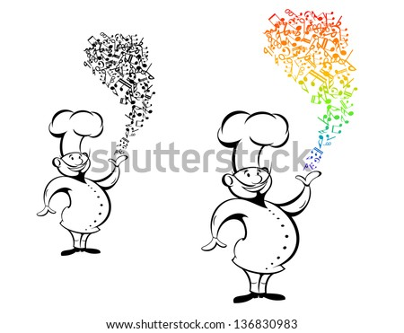 Cook with musical notes in hand for art design. Jpeg (bitmap) version also available in gallery - stock vector