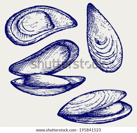 Cooked lipped mussel. Doodle style - stock vector