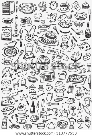 Cookery food doodles  - stock vector