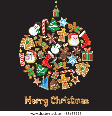 Cookie Christmas Ornament isolated on Black - stock vector