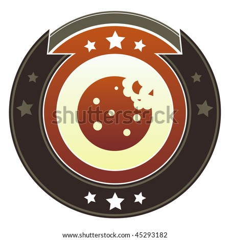 Cookie, dessert, or food icon on round red and brown imperial vector button with star accents - stock vector