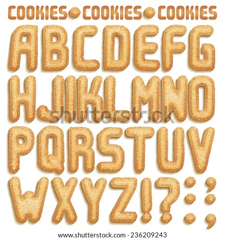 Cookie font, full ABC A-Z  part 1/2 - stock vector