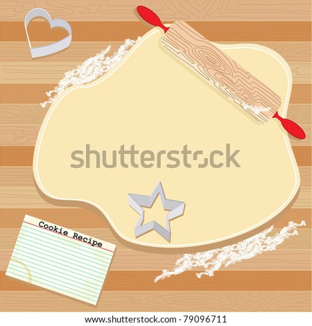 Cookie Party Invitation with dough, rolling pin, cookie cutters and recipe card, on wooden board - stock vector