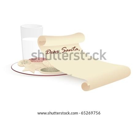 Cookies and milk for Santa - stock vector