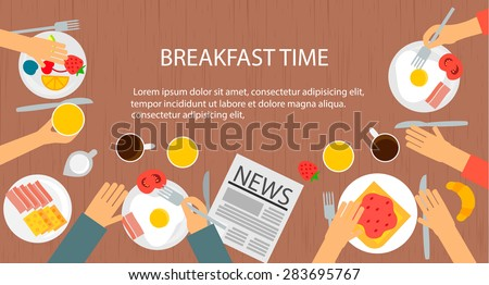 Cooking and food web banner with breakfast icons set, vector illustration. Top view of family  having breakfast  - stock vector