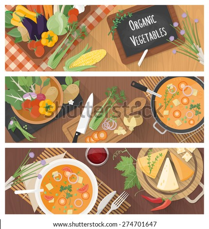 Cooking and healthy eating banner set with tasty soup recipe and food preparation at home - stock vector