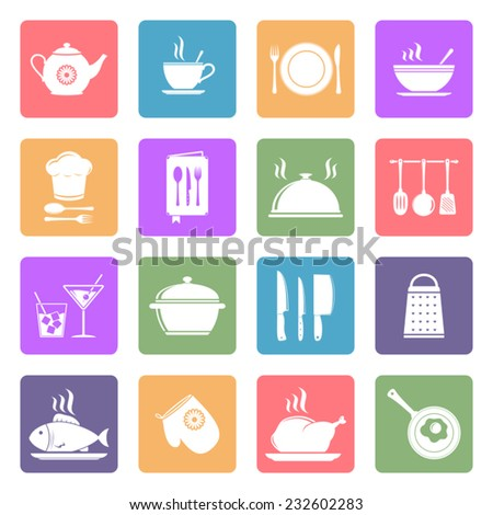 Cooking and kitchen icons, flat design vector - stock vector