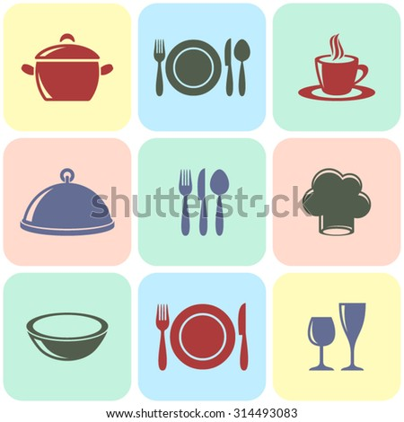 Cooking and restaurant menu icons vintage squares collection - stock vector