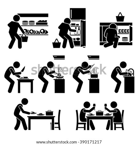 Cooking at Home and Preparing Food - stock vector