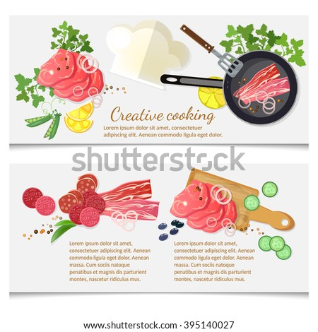 Cooking banner top view red meat in a frying pan vector illustration - stock vector