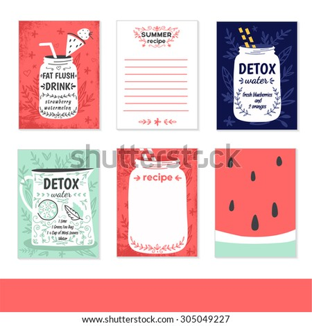 Cooking cards, notes, stickers, labels, tags with cute decorative illustrations. Template for scrapbooking, wrapping, notebooks, notebook, diary, decals, school accessories. Detox and healthy life. - stock vector