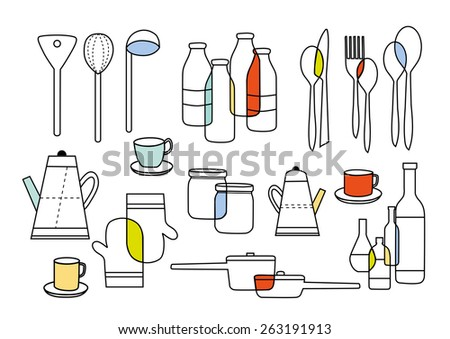 cooking eating and home ware equipments - stock vector