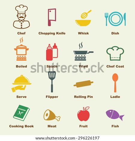 cooking elements, vector infographic icons - stock vector