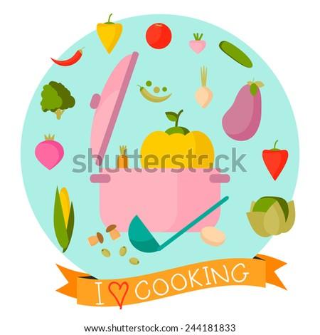 Cooking flat composition. Flat design vector. Vegetarian set of vegetables: green peas, eggplant, potato, carrot, onion, radish, pepper, tomato, mushroom.  - stock vector