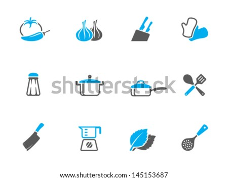 Cooking icons in duo tone colors - stock vector