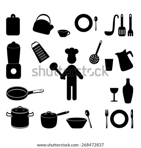 Cooking Icons Set with chef - stock vector