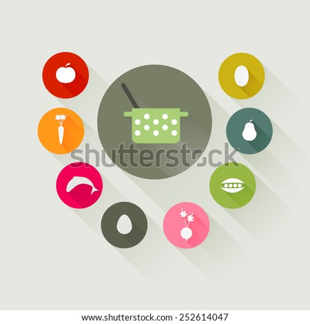 cooking icons with long shadows - stock vector