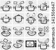 Cooking instruction vector icon set on gray - stock vector