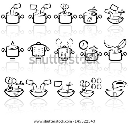 Cooking instruction vector icons set. EPS 10. - stock vector