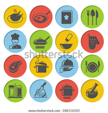Cooking kitchen and restaurant icons set with chicken chef recipe book pot pan isolated vector illustration - stock vector