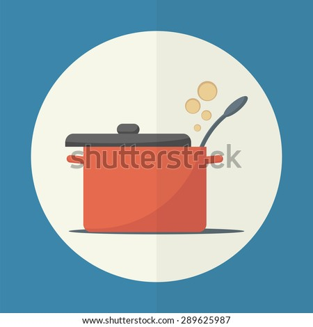 Cooking pan with lid open. Simple flat vector icon. - stock vector