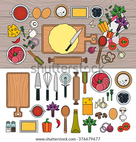 Cooking pizza on wooden table with ingredients. Cooking at home concept. Board, utensils, products isolated on white background. Line flat design - stock vector