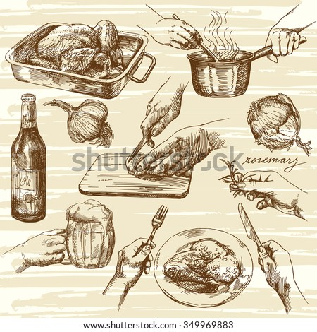 Cooking process. Hand drawn vector illustration. - stock vector
