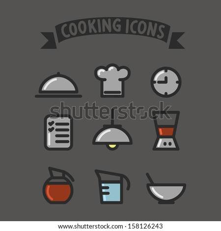 cooking set icons colorful flat design Restaurant icons  - stock vector