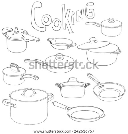 Cooking - set of pans and frying pans. Hand Dawn. Vector Illustration. - stock vector