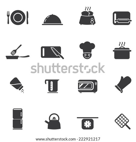 Cooking Silhouette icons - stock vector