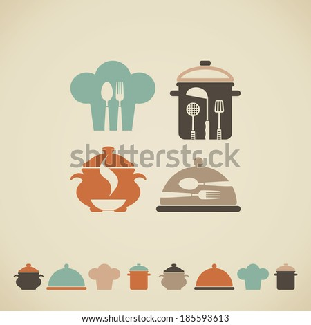 Cooking symbols - stock vector
