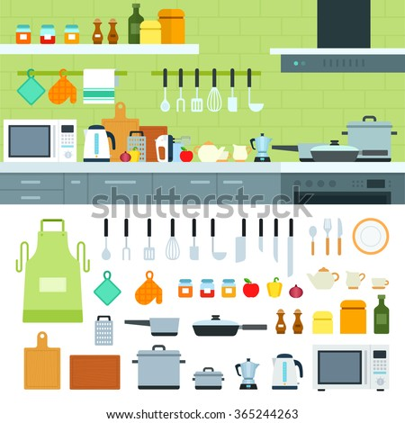 Cooking tools vector flat illustrations. Kitchen with modern cooking equipment, products on the shelves. Cooking at home concept. Pots, spices and othe cooking utensils isolated on white background - stock vector