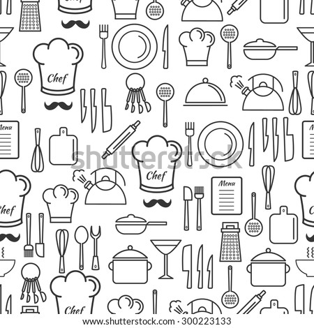 Cooking utensil line icons seamless pattern.Linear design background. Outline kitchen icons pattern. EPS10 vector illustration for your design. Easy editable masked pattern. - stock vector