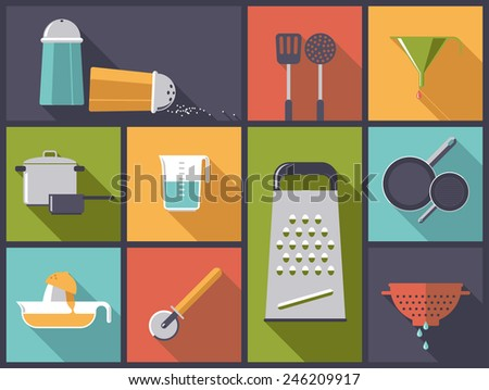 Cooking utensils icons vector illustration. Flat design illustration with various kitchen tools. - stock vector